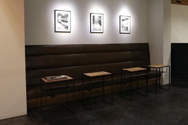 オーダー家具・スチールフレームと無垢のサイドテーブル&造作ベンチ